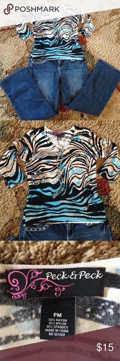 🌟LABOR DAY SALE 🌟 Shirt Beautiful zebra style print shirt, only worn once. Like new Peck & Peck Tops Blouses