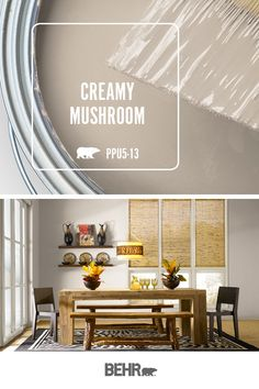 There's nothing like a neutral wall color to create balance in the interior de… There's nothing like a neutral wall color to create balance in the interior design of a space—especially when it's as modern as this dining room! Behr Paint in Creamy Mushroom Behr Paint Colors, House Design, Interior, Living Room Paint, Living Room Colors, Paint Colors For Living Room, Interior Paint Colors Schemes, Home Decor, Neutral Wall Colors
