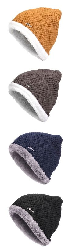 Mens Warm Lining Coral Fleece Beanie Hat Knitted Hat  outdoor  outfit Men s  Beanie ca8f51b4c36e