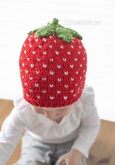 Sweet Strawberry Hat Knitting Pattern for newborns, babies and toddlers!   littleredwindow.com