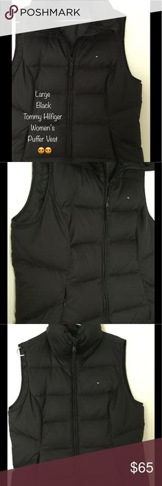 Black TH Puffer Vest. Large. Worn once. Excellent Tommy Hilfiger Puffer Vest 😍 Large. Worn once. Cozy! Soft, beautiful feel. Solid Black! Like new! No tags. Tommy Hilfiger Jackets & Coats Vests