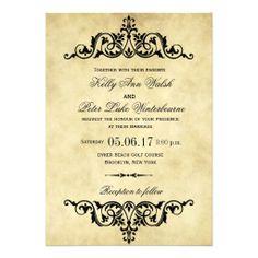 Elegant Flourish Swirl Vintage Wedding Invitation