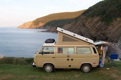 Westy camping at Meat Cove, Nova Scotia