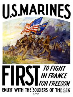 World War One Poster of US Marines Charging Forward During a Battle Photographic Print by Stocktrek Images at Art.com