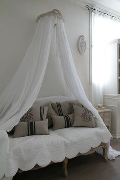 G r e y-love the canopy over the couch & Valpo Twin Daybed Mattress Sepia | French daybed Daybed and ...