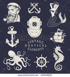 Vintage Hand Drawn Nautical Set                                                                                                                                                                                 Mais