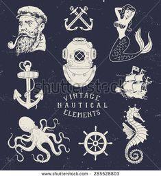 Vintage Hand Drawn Nautical Set                                                                                                                                                                                 Mais