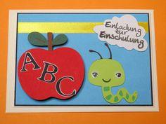 """Glückwunschkarten - Einladungskarte zur Einschulung """"Apfel ABC """" - ein Designerstück von Wonderful-Paper-Art bei DaWanda"""