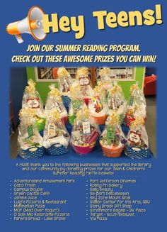 """Teens, join Summer Reading! For each book you read, you receive a raffle ticket to enter to win one of these baskets!  Visit teen.emmaclark.org & click on """"Teen Summer Reading"""" to download a registration form and raffle tickets. Or stop by the library!"""