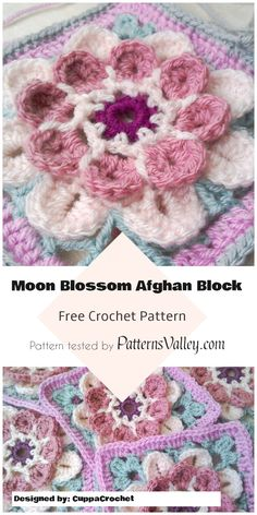 Cute Moon Blossom Afghan Block [Free Crochet Pattern] #MoonBlossom #crochet #AfghanBlock #crochetstitch #flowers  #crochetaddict