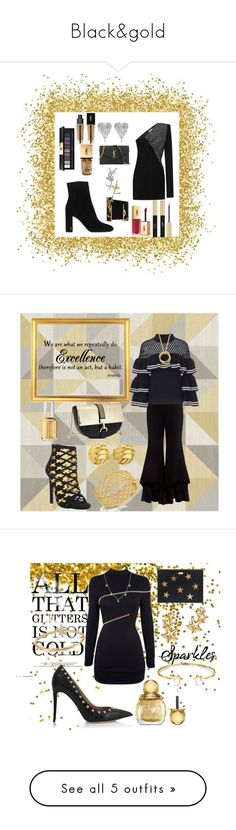 """Black&gold"" by cecilvenekamp ❤ liked on Polyvore featuring Yves Saint Laurent, Hedi Slimane, cassiecronk, Wall Pops!, Alexis, self-portrait, Privileged, Lanvin, Tiffany & Co. and Roberto Coin"