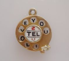 9ct Gold I LOVE YOU Enamel Telephone Dial by TrueVintageCharms