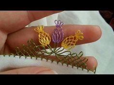 Çiçekli iğne oyası modeli ve Yapılışı ✔ - YouTube Needle Tatting, Needle Lace, Crochet Borders, Lace Embroidery, Class Ring, Diy And Crafts, Knit Crochet, Quilts, Sewing