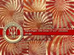 Digital Paper: Old Circus. Instant download digital scrapbook paper, paper for craft. on Etsy, 2,70 $