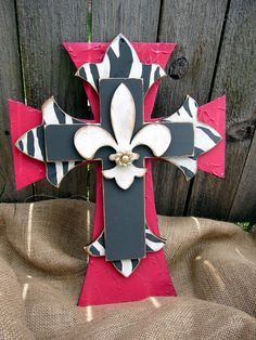 Pink and Gray Zebra Hand Painted Wooden Cross