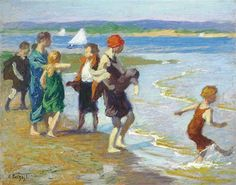 """The Bathing Beach,"" Edward Henry Potthast, oil on panel, 8 x 10"", private collection."