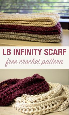 LB Crochet Infinity Scarf - Stacy's Stitches An easy crochet infinity scarf pattern for keeping cozy this fall and winter! Check out this site for this and other great crochet patterns for beginning and intermediate crocheters. One Skein Crochet, Quick Crochet, Crochet Poncho, Crochet Scarves, Crochet Infinity Scarves, Crochet Granny, Crochet Scarf Easy, Beaded Crochet, Crochet Clothes