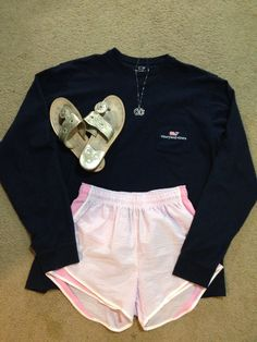 Lazy preppy school ootd:Navy Vineyard Vines long sleeve logo tshirt, pink Lauren James shorties, monogrammed necklace, and Jack Rogers