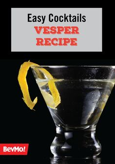Vodka, gin, a splash of white wine, and a hint of lemon pair oh-so deliciously in this Vesper Cocktail recipe. Smooth as can be, this clear mixed drink is best served at your party with a citrus twist! Easy Cocktails, Classic Cocktails, Cocktail Recipes, Vodka Recipes, Mixed Drinks, White Wine, Gin, Lemon, Smooth