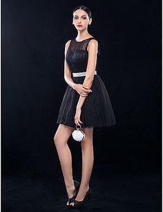 A-line Bateau Short/Mini Tulle Cocktail Dress (699505) – AUD $ 128.69