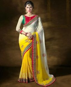 Alluring Off White And Yellow Georgette Saree [APRC19002] $83.88 - Buy fashion wear online, Buy Indian wear Online by A1designerwear.com