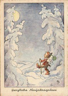 AK - NEUJAHR - R. BUSCH SCHUMANN - ENGEL - GLÜCKSKLEE - VOLLMOND - Gel. 1939 | eBay