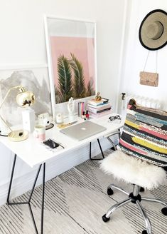 Le Fashion Blog Stylish Whimsical Work Space Urban Outfitters Striped Rug White Office Chair Architectural Desk Colorblock Pillow Gold Lamp Home Decor