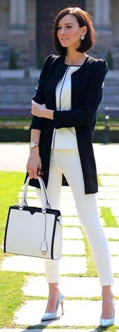 Moda - elegante - combinação - branco - preto - blusa - calça - casaco - sapato - bolsa Fashion - elegant - combination - White - Black - blouse - trousers - coat - shoe - bag