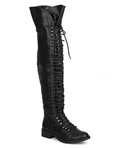 Mark Maddux Women Leatherette Thigh High Lace Up Zip Combat Boot Black Size 70 * For more information, visit image link. (This is an affiliate link) Thigh High Combat Boots, Women's Over The Knee Boots, Boots For Sale, Thigh Highs, Clothing Items, Fashion Boots, Black Boots, Thighs, Black Leather