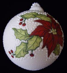 Poinsettia Holly Porcelain Christmas Ornament Ceramic Ornament ...