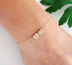 Monogram Heart TWO charms GOLD Fill Bracelet, Initial ADJUSTABLE Gold Bracelet, Wedding, Couple, Mother's jewelry, Bridesmaid gifts