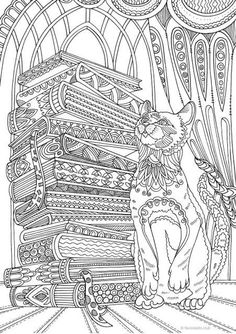 Cats Adult Coloring Book Best Of Cat and Books Printable Adult Coloring Page From Favoreads Coloring Book Pages for Adults and Kids Coloring Sheets Coloring Designs Cat Coloring Page, Adult Coloring Book Pages, Animal Coloring Pages, Free Coloring, Coloring Books, Kids Coloring, Coloring Worksheets, Colouring Pages For Adults, Online Coloring