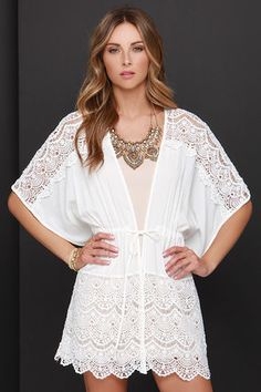 Lovely Ivory Top - Kimono Top - Lace Top - Kaftan Top - $49.00