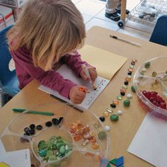 Acorn School- great idea to gather various objects (e.g., glass beads, marbles, etc.) and after students have sorted it, can create patterns/designs and record it in a journal.