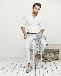 Light blue pants, white shirt, boat shoes