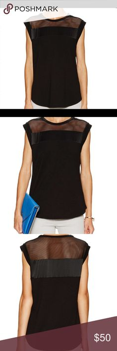 Rebecca Taylor boxy mesh trim top Rebecca Taylor black crew neck knit top with cap sleeves, curved high-low hem, and tonal too stitching and panel seaming. Only worn once, new condition. Rebecca Taylor Tops Blouses