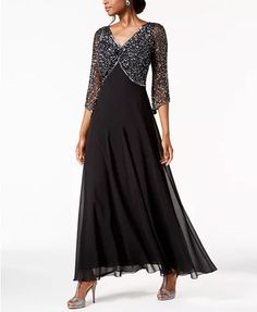 J Kara Embellished Gown Women - Dresses - Macy's Mother Of Groom Dresses, Long Mothers Dress, Mob Dresses, Bride Dresses, Brides Mom Dress, Embellished Gown, Gowns With Sleeves, A Line Gown, Chiffon Gown