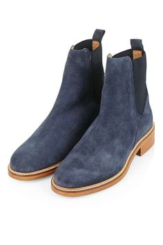 Whatever the season, you can't go wrong with a classic Chelsea boot, here in a navy blue suede form. Famously versatile and perfect with anything from a floaty dress to ripped jeans, without these boots, you're missing out on a major wardrobe staple. #Topshop