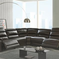 Looking for beautiful recliner sectional for your house? We got the perfect solution for you. Elda Brown Recliner Sectional By At Home USA will give you the perfect comfort. Also, the unique design will make your living room stand out. Living Room Stands, 3 Piece Living Room Set, Living Room Sets, Living Room Designs, Living Room Decor, Leather Reclining Sectional, Sectional Sofa With Recliner, Living Room Sectional, Living Room With Fireplace