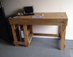 escritorio en l rstico de madera reciclada