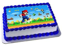 Super Mario Edible Cake Topper Super Mario by Trendytreathouse Mario Birthday Cake, Birthday Sheet Cakes, Super Mario Birthday, Birthday Cake Toppers, Boy Birthday Parties, 3rd Birthday, Lego Mario, Mario Y Luigi, Mario Bros Kuchen