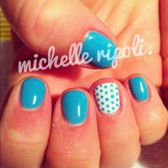turquoise teacup & polka dots - bio sculpture gel nails.