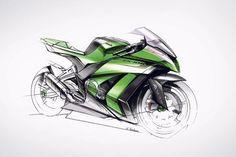 Sharper ZX-10R due soon Bike Sketch, Car Sketch, Bike Drawing, Drawing Sketches, Moto Ninja, Motorbike Design, Zx 10r, Kawasaki Ninja, Bike Wheel