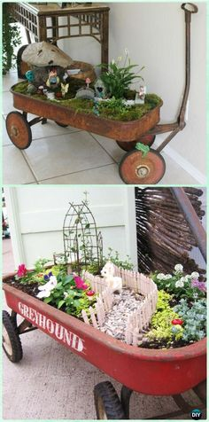 DIY Wagon Fairy Garden Instruction - DIY WheelBarrow Miniature Garden Projects
