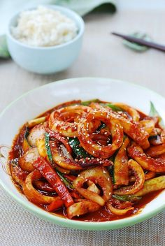 Ojingeo bokkeum (spicy stir-fried squid) - Recipes World Calamari Recipes, Spicy Seafood Recipes, Seafood Dishes, Asian Recipes, Healthy Recipes, Chinese Seafood Recipe, Octopus Recipes, Squid Recipes, Veggie Fries