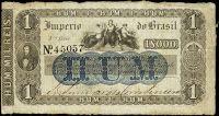 ANVERSO UNIFACE; Valor facial: 1000 réis; Ano de emissão: 1866; Órgão emissor: Tesouro Nacional; Empresa impressora: Perkins, Bacon & Petch; 4ª Estampa