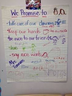 """""""We promise to."""" Classroom social contract Classroom management from he start by building a community of learners that have shared an agreed upon expectations. Classroom Contract, Class Contract, Behavior Contract, Social Contract, Classroom Ideas, Class Management, Behavior Management, Classroom Management, Beginning Of School"""