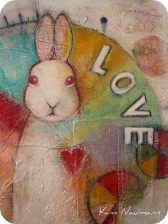 by Kim Naumann - Curiouser Curiouser White Rabbits, Bunny Rabbits, Bunny Art, Bunny Bunny, Some Bunny Loves You, Rabbit Art, Funny Bunnies, Art Journal Inspiration, Whimsical Art