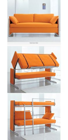Sofa Bunk Bed. How cool!? I don't like orange,  maybe it comes in another color