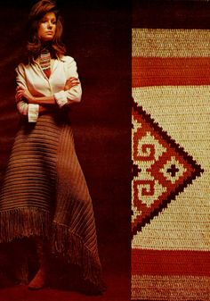 DIY Easy Asymmetrical Midi Skirt and Native American Wall Hanging PDF Vintage Knit and Crochet Pattern
